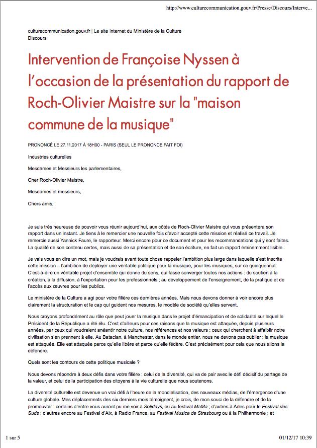 Discours de Françoise Nyssen sur le rapport de la maison commune de la Musique