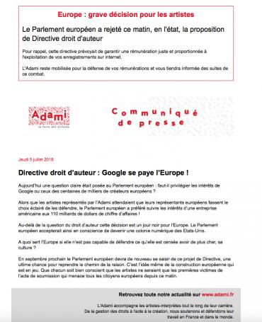 Alerte : Europe, grave décision pour les artistes