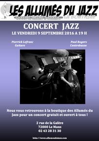 Concert aux Allumés du Jazz le vendredi 9 septembre 2016