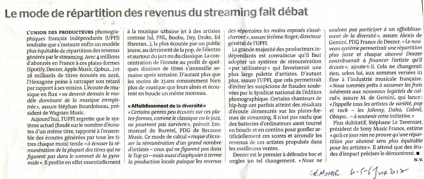 STREAMING - LE MONDE 5/6 JUIN 2017
