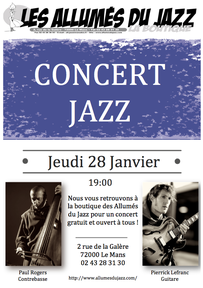 Soirée Jazz le Jeudi 28 Janvier !